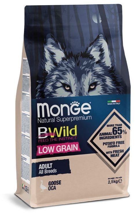 Monge Dog BWild LOW GRAIN adult all breeds GOOSE