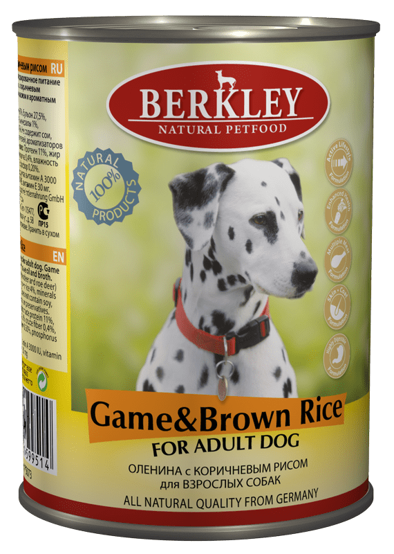 Berkley Game & Brown Rice Adult Dog 400 гр. 12200