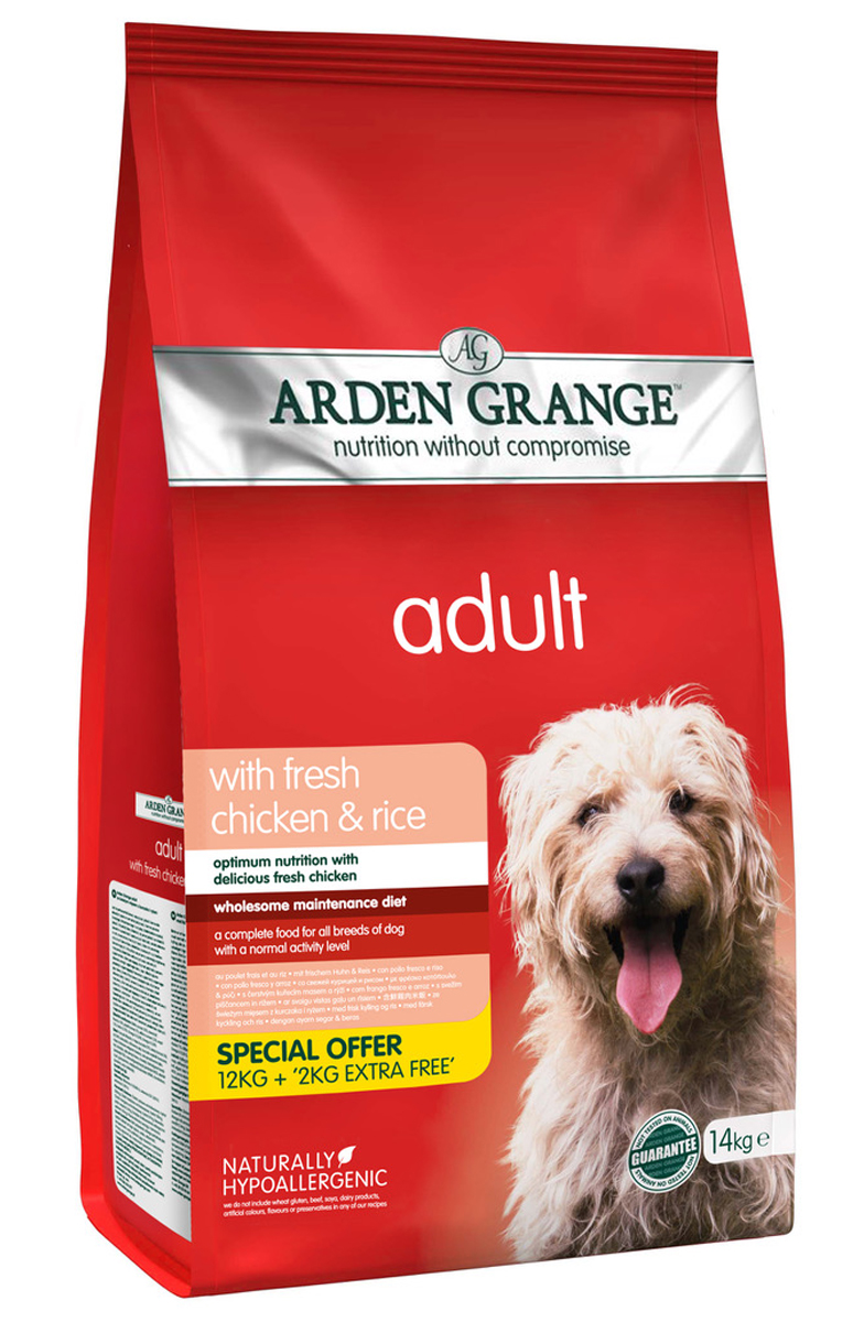 Arden Grange Adult Dog Chicken & Rice 12кг + 2кг