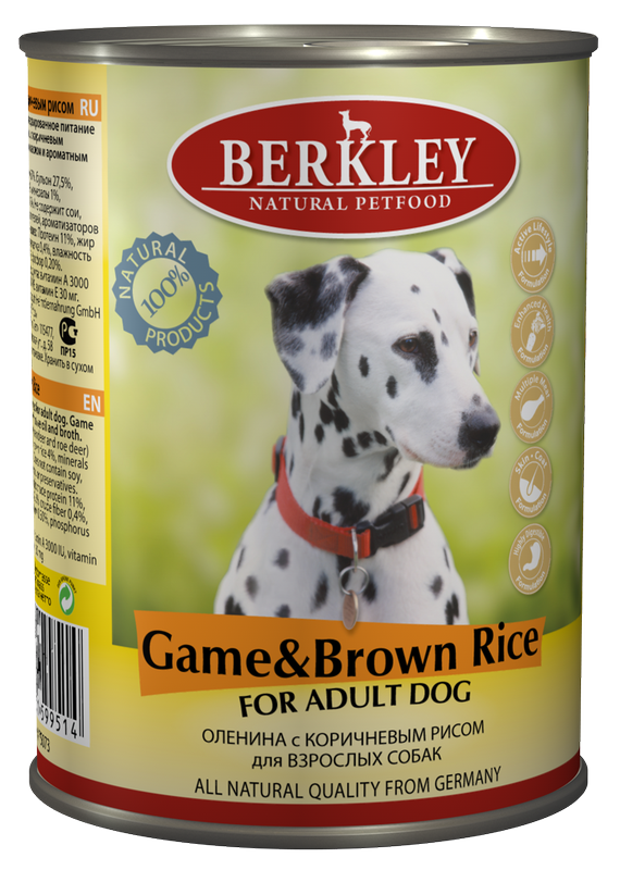 Berkley Game & Brown Rice Adult Dog 400 гр. 37134