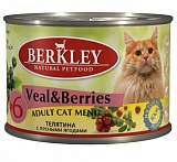 Berkley #6 Veal with Forest Berries for Adult Cat 200 гр. 20116